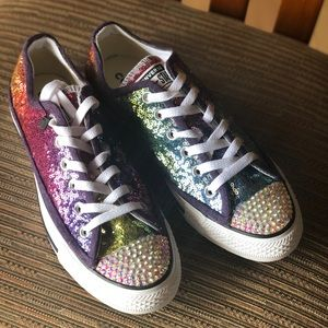 Rainbow Sequin Converse Low Top Sneakers